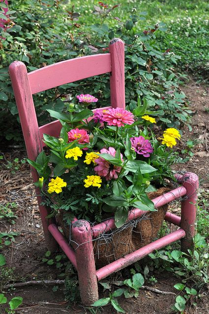 Pink chair planter full of zinnias and marigolds.