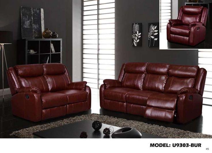 Global Furniture Reclining Sofa Burgundy #Qpu 019