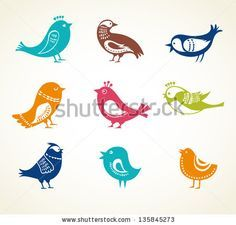 set of cute decorative birds - stock vector