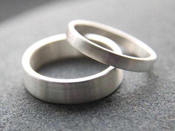 Recycled Silver Wedding Ring Set, 5mm Men's Wedding Band & 3mm Women's Wedding Ring, Argentium Silver, Brushed Finish, Made To Order
