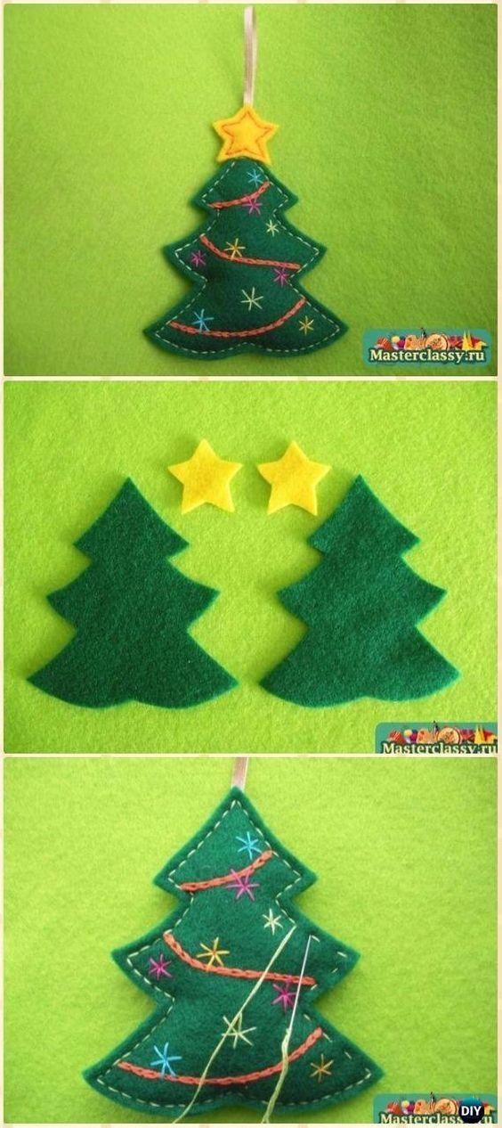 DIY Felt Christmas Tree Ornament Instructions - DIY Felt Christmas Ornament Craft Projects [Picture Instructions]