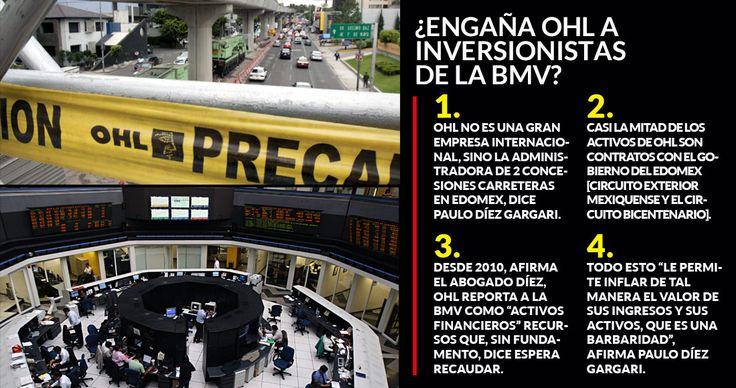 """Desde 2010, OHL México registra ante la Bolsa Mexicana de Valores como """"activos financieros"""" recursos que, sin fundamento, afirma que espera recaudar a través de las dos concesiones que obtuvo en el Estado de México: el Circuito Exterior Mexiquense y el Viaducto Bicentenario, denunció el abogado Pau"""