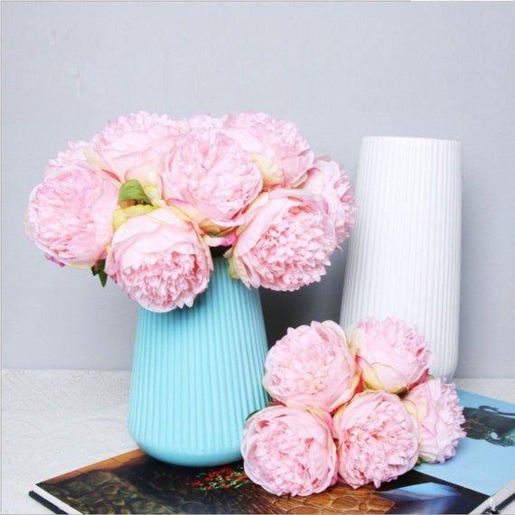 Artificial Rose Flower Potted Plant Flowers Bunch 18cm with a Pot Trend De #ya7