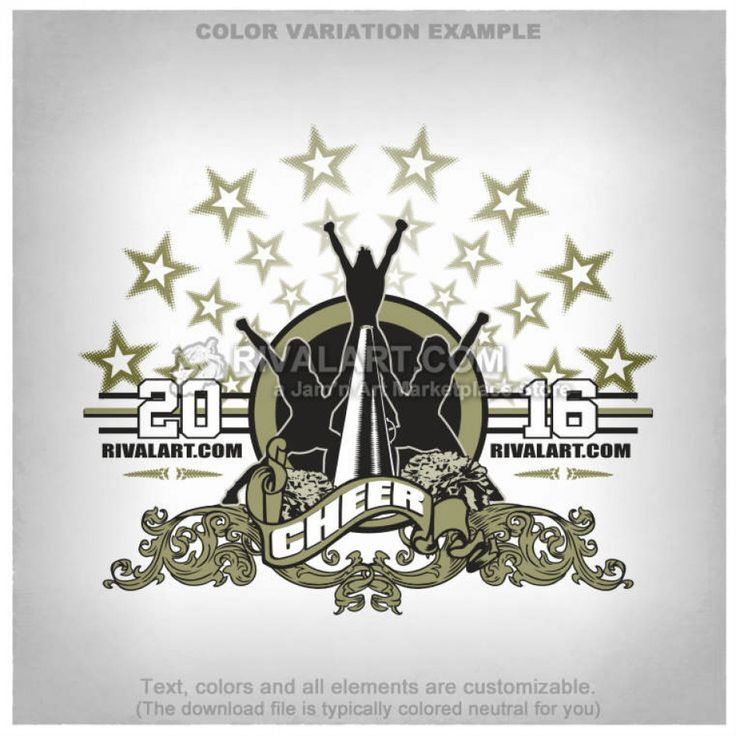 Cheerleading T-shirt Design Template CHEER-85-RQ