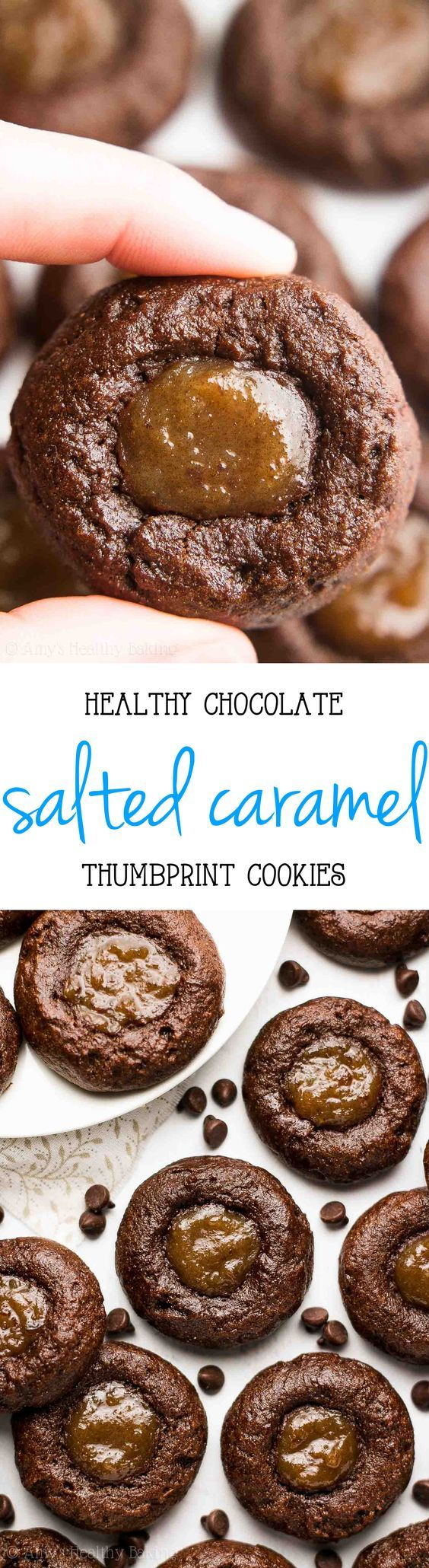 {HEALTHY!} Dark Chocolate Salted Caramel Thumbprint Cookies -- only 38 calories! So rich & they practically taste like brownies! Spoil Mom with these for Mother's Day!