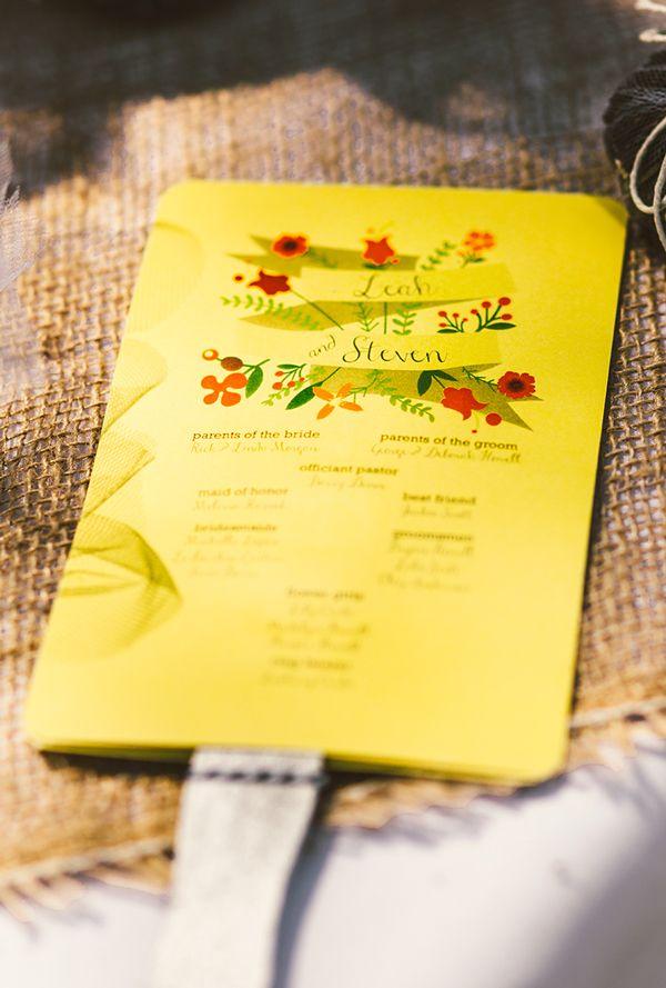 sunny yellow wedding program #fanprograms #yellowwedding #weddingchicks http://www.weddingchicks.com/2013/12/30/farm-style-wedding/