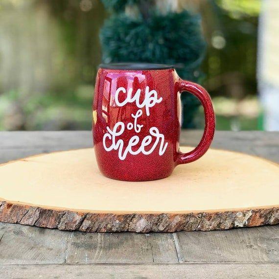 Cup Of Cheer Glittered Coffee Mug 14oz Stainless Steel Mug Etsy In 2020 Mugs Christmas Mugs Christmas Cup