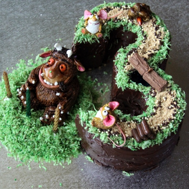 "Gruffalo cake! @Christina Childress Childress Love I still remember when W brought this book in to class to share as his ""favorite""! I miss your sweet boy"