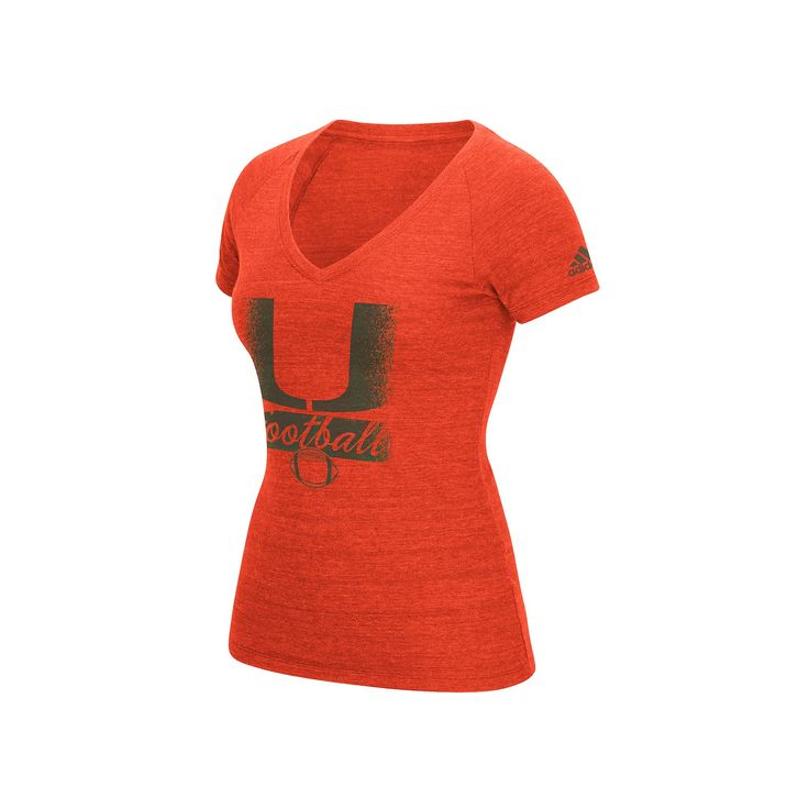 Women's Adidas Miami Hurricanes Football Tee, Size: Medium, Orange