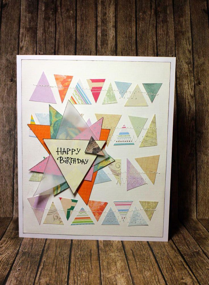 Creative Hamster: Открытка на День Рожденья с треугольниками. Birthday Card With Triangles