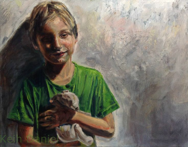 Boy and  stuffed  Rabbit-Oil on canvas -45 x 60 cm - Keith Daniel