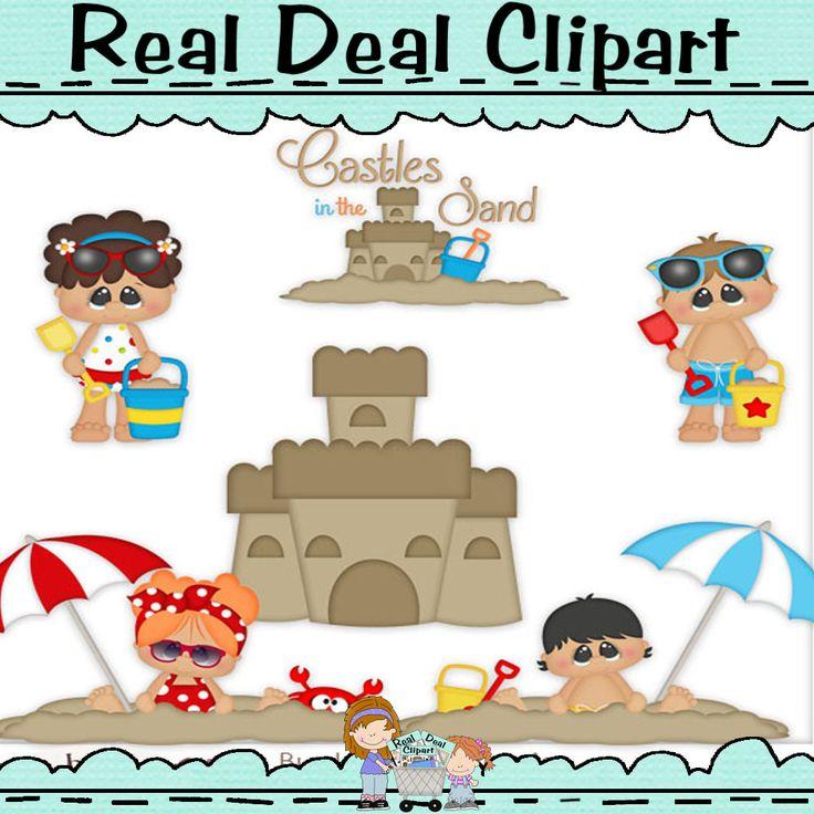 Bucket of Memories Clip Art Beach, Sand Castles, Girls, Boys, Umbrella, Shovel, Pail, Crab, Sand