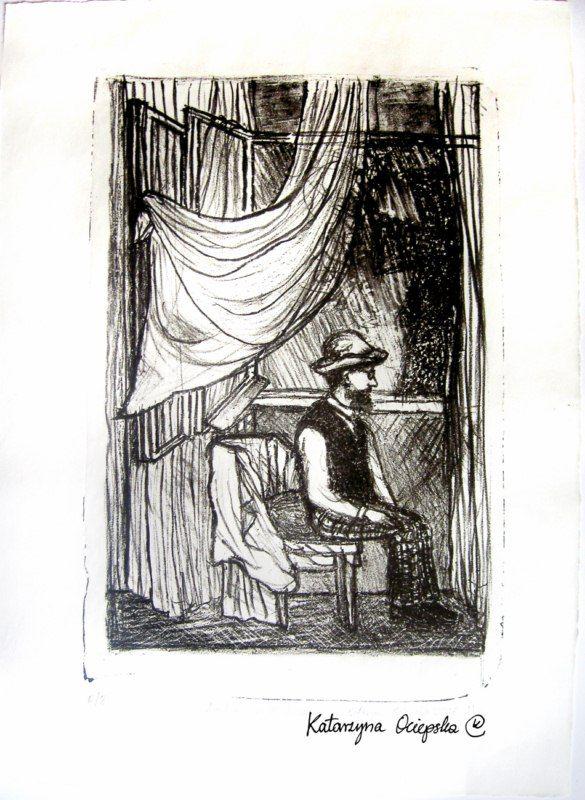 Lautrec w Krakowie (Lautrec at Cracow) litography, 2006 #lithography #litografia #print #printing #druk #drukowanie #uljado