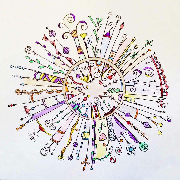 original circular dangle  - ink, colored pencil, watercolors