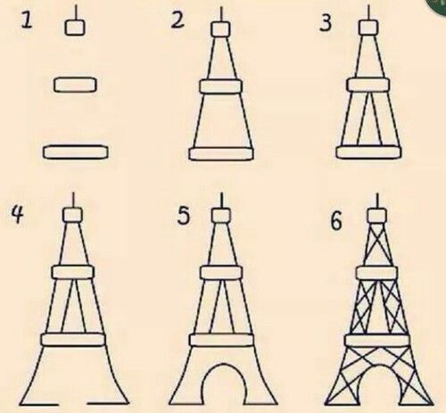 How to draw Eiffel Tower, easy!