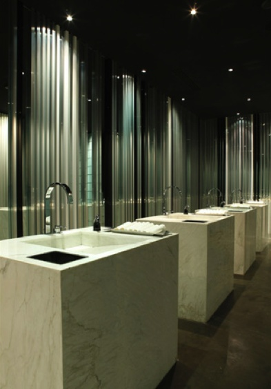 Bathroom inside the BeefBar in Mexico designed by Humbert & Poyet _
