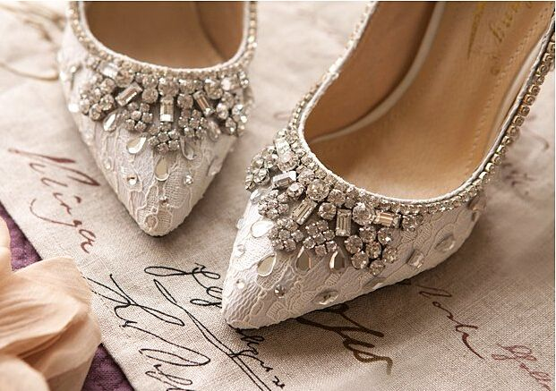Bridal Kitten Heels,Bridal Kitten shoes,Bridal shoes,Lace/Crystals Wedding Shoes - Heels