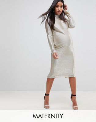 24e0f32435d Flounce London Maternity High Neck Metallic Midi Dress