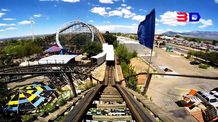 New Mexico Rattler 3D front seat on-ride HD POV Cliff's Amusement Park