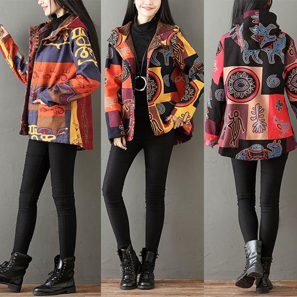 Trendy Gracila Ethnic Print Patchwork Fleece Thick Hooded Coats For Women Online - NewChic