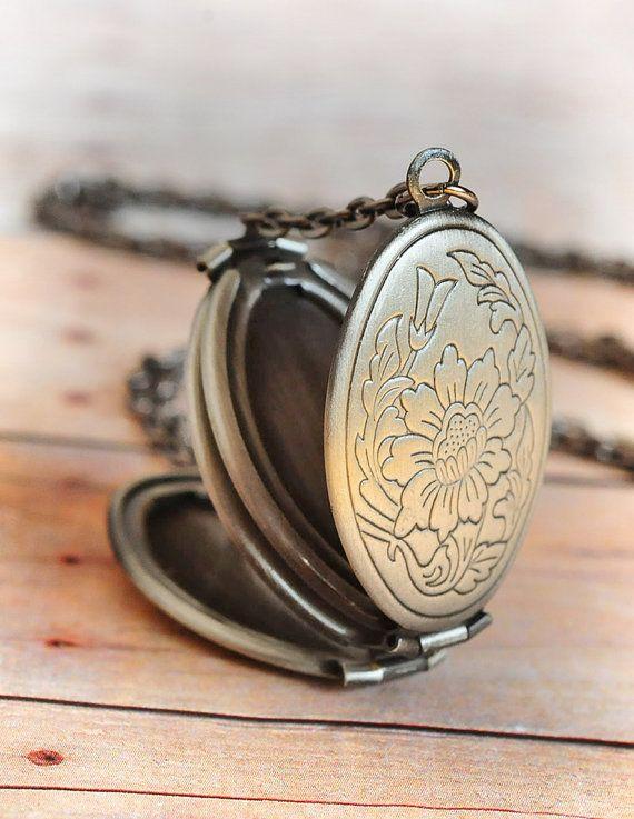 Medallón plata ENVÍA regalo regalo colgante largo collar joyería de plata regalo antiguo medallón collar Limonbijoux negro MAÑANA el viernes