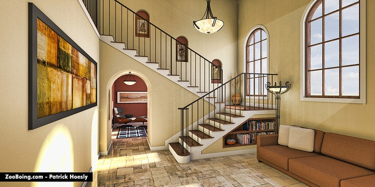 Interior Architectural Illustration created in 3D modeling program and rendered with Shaderlight.