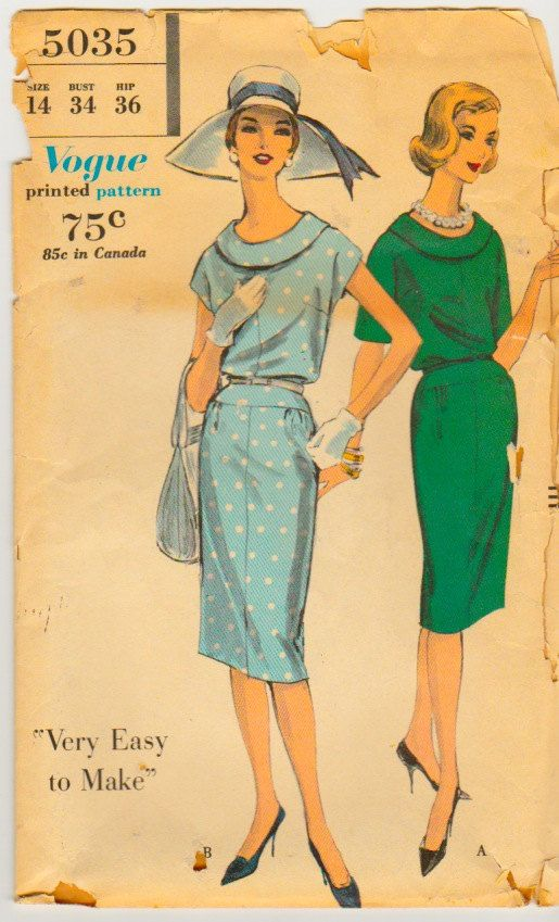 Vogue 5035 Vintage Dress Sewing Pattern Bust by TheStyleSpectrum, $14.00