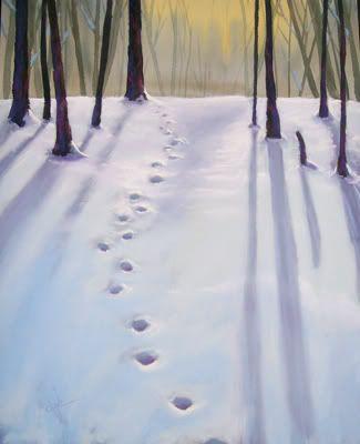 hoof path: Watercolor, Painting Snow, Path Footprints, Winter Wonderland, Paintings Winter, Winter Paintings, Photography