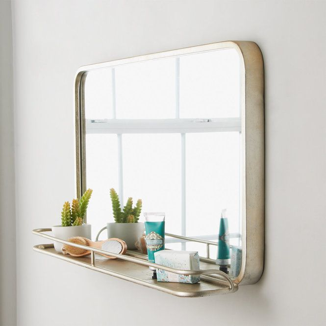 Metal Mirror With Shelf Large In 2020 Mirror With Shelf Metal Mirror Industrial Mirrors