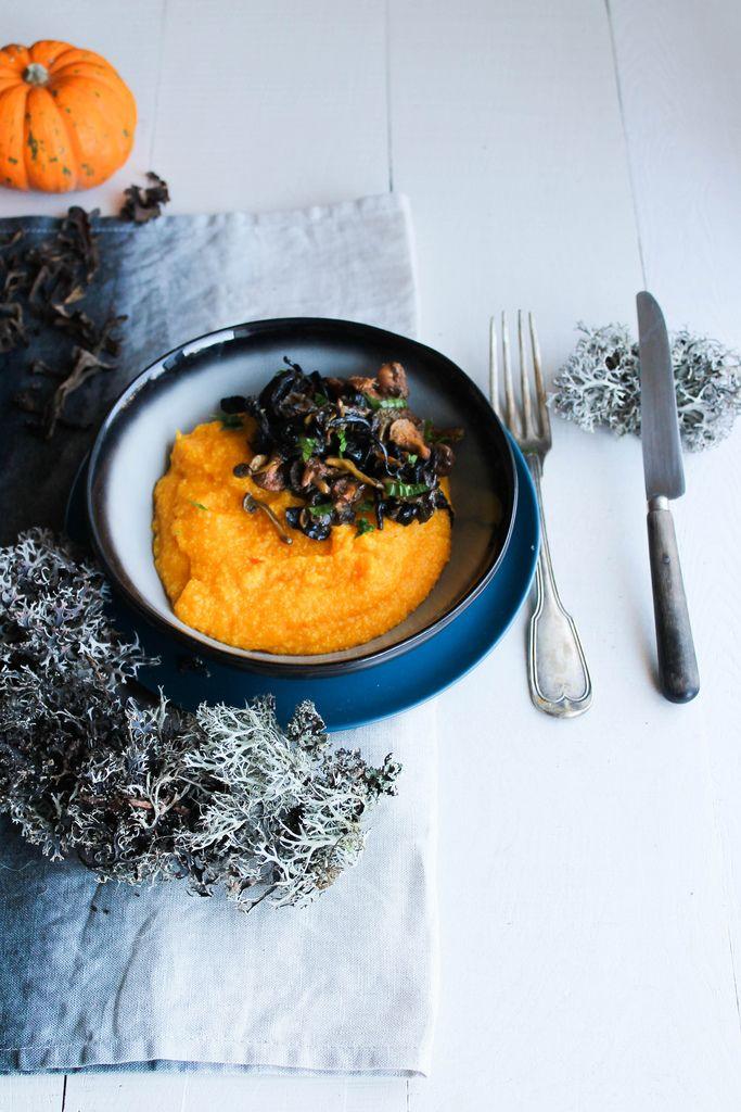 Polenta crémeuse au potimarron et champignons {vegan - sans gluten} - aime & mange