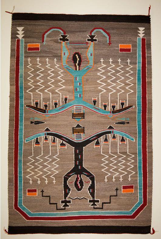 Wonderful Sand Painting Pictorial Navajo Rug. Weaver Unknown