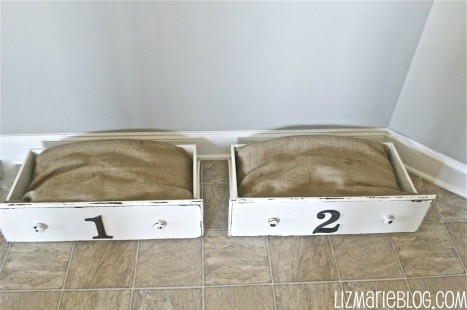 DIY Dresser Drawers Pet Beds.  Great idea if my pets use them!