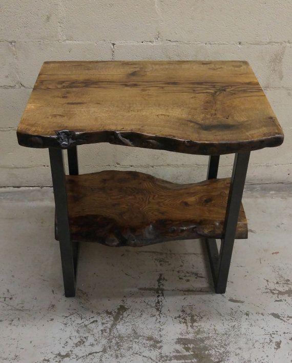 Live Edge Burly Oak Vanity with Bottom Oak Shelf von WickedGrain