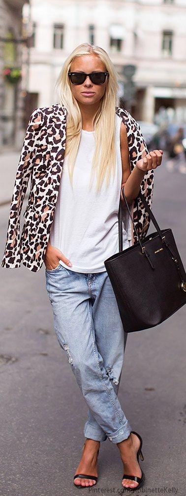 Leopard blazer, loose tank, boyfriend jeans and black strappy heels