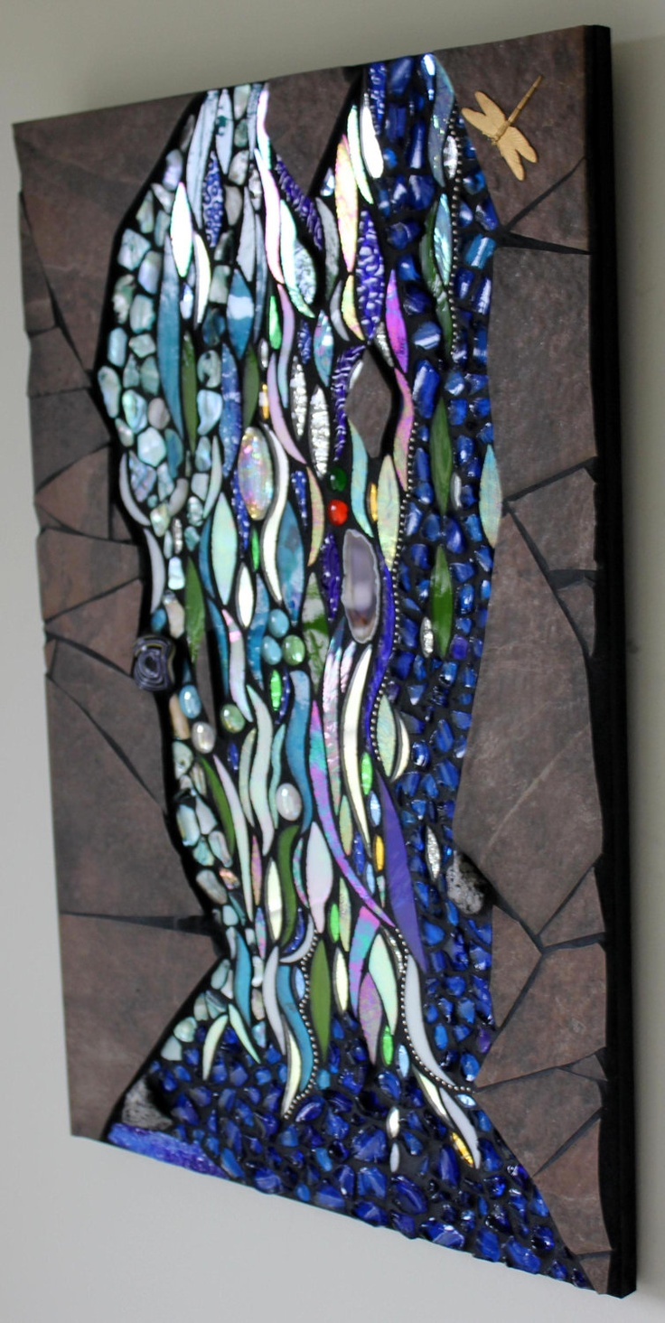 Mosaic Mixed Media, Glass, Shells, Water, Aquarius. $500.00