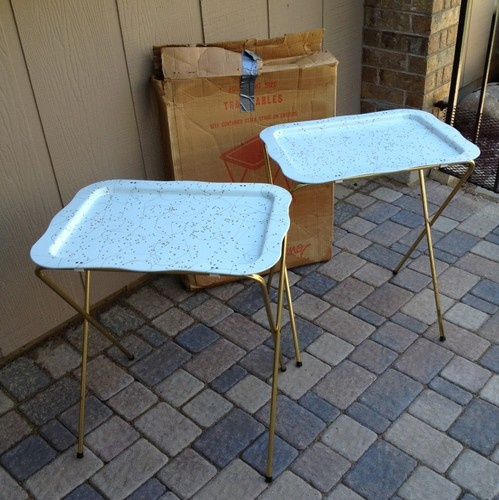 2 Vintage Mid Century Atomic Folding Snack T.V. TV Trays Stand Tables