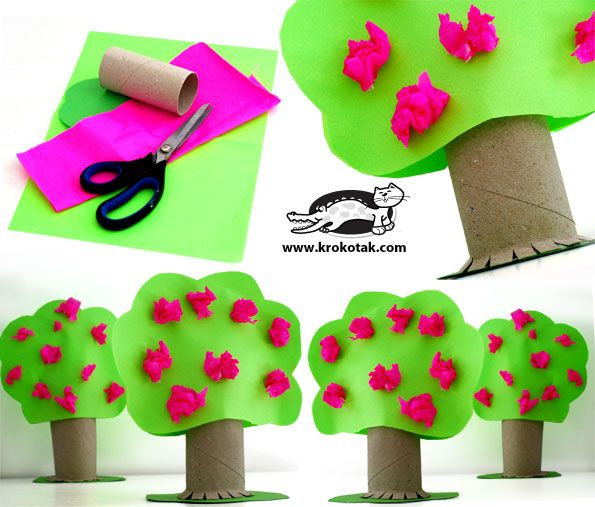 springtime trees using cardboard tubes from Krokotak.