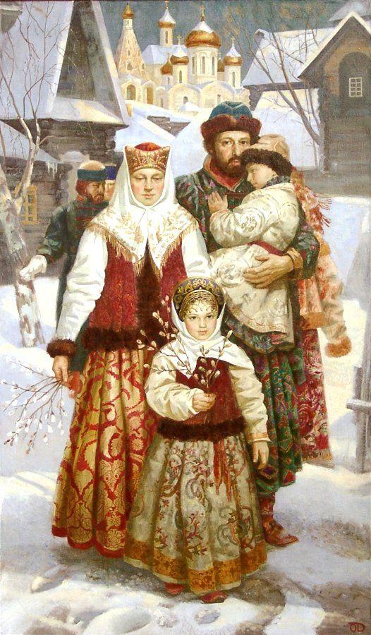 "Russian costume in painting. ""Palm Sunday"" by Olga Denisenko, 2001. #art"