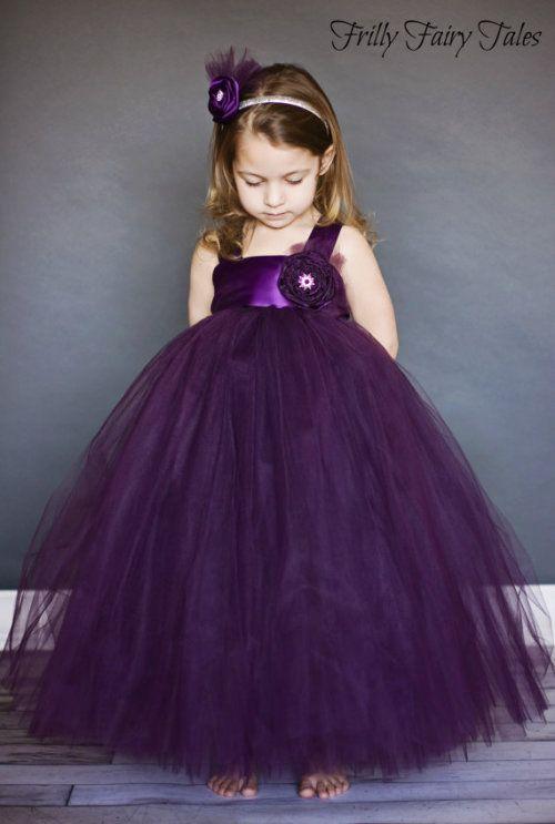 Plum Flower Girl Dress