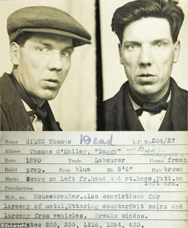 The mean faces of 1930s crime: Vintage police mugshots reveal battered-looking burglars of pre-war Britain