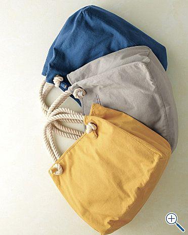 Sacs de plage avec anses en corde : jaune, bleu, ou gris