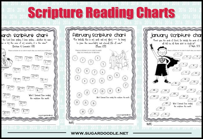2016 LDS Scripture Reading Charts - correspond to 2016 Primary Outline