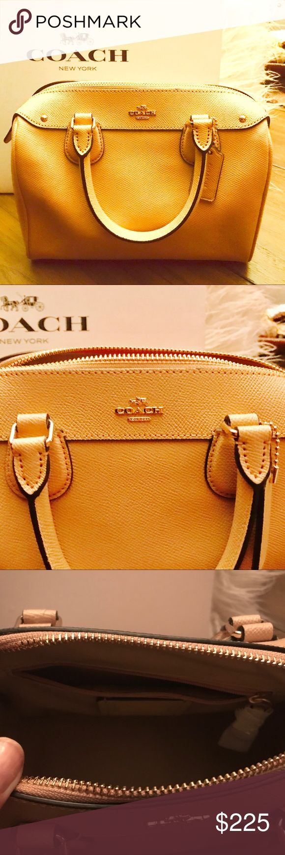 Chic Coach Satchel with Crossbody Strap Included! Chic Coach Bag in lovely neutral color to go with everything! Carry it with handles or attach crossbody strap at times when you need to be hands free. Chic, classy and versatile make this timeless Coach bag a must have! Big enough to fit everything yet small enough to not be a burden to carry💛👍🏼. Brand New! Tag still on Retail $275. Will ship within 24 hours🎊 Coach Bags Crossbody Bags