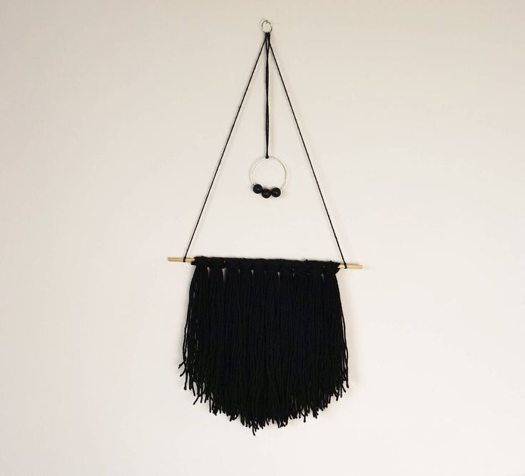 Black Boho Style Wall Hanging. Gift Idea. Home Decor. Wall Decor. Wool Art. Yarn Hanging. Wall Art. Scandinavian style. Bedroom decor. by BlushedCreationsXOXO on Etsy