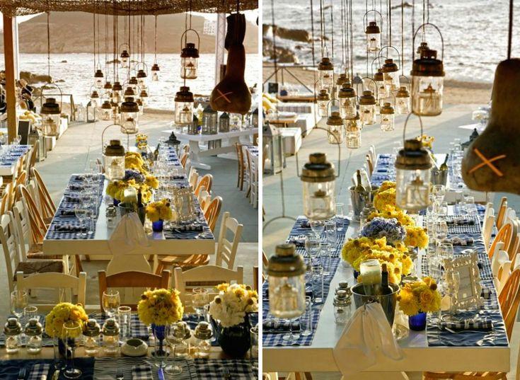When Brazil Meets Greece Wedding @ Alemagou, Mykonos by De Plan V. Alemagou restaurant in Ftelia beach, handing lanterns, sand, beach, sea view, art de la table, dinner table decoration, flower compositions, table mats