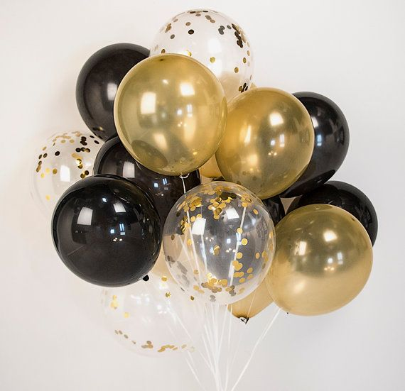 Gold & black confetti balloons 8/16/24 :-) celebration, wedding, birthday, party - AU Free shipping