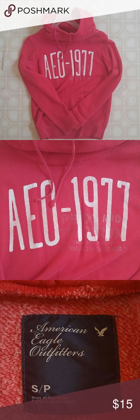 American Eagle hoodie Red American Eagle outfitters hoodie. Really big neck and hood. ?? Small. American Eagle Outfitters Jackets & Coats