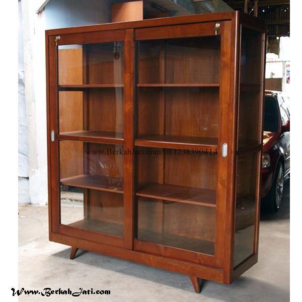 Jual Rak Buku Minimalis Pintu Kaca Merupakan Produk Mebel Jepara furniture Rak Buku Minimalis Kayu Jati Solid finishing Melamik cocok untuk interior Rumah