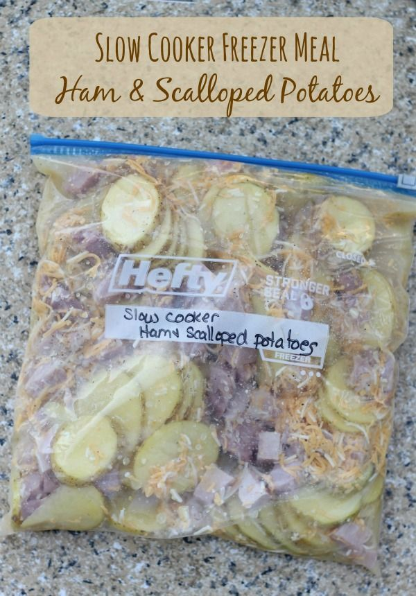 Gooey melted cheese, soft potatoes, and satisfying salty chunks of ham that all melt together for a yummy filling dinner. These Ham & Scalloped potatoes recipe were a must as part of the Freezer Slow Cooker Meals Series, my family loves them and I know yours will too.