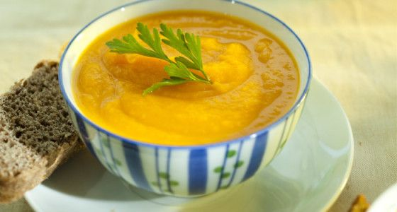 Sweet Potato and Chilli Soup  To spice things up a little, we've added a hint of chilli to our favourite sweet potato soup recipe. This soup is a perfect winter warmer and you can add chilli to suit your taste.  #Vegetable #British #Starter #soup
